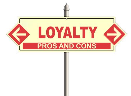 faithfulness: Loyalty. Road sign on the white background. Raster illustration.