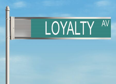 fidelity: Loyalty. Road sign on the sky background. Raster illustration. Stock Photo