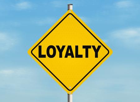 faithfulness: Loyalty. Road sign on the sky background. Raster illustration. Stock Photo