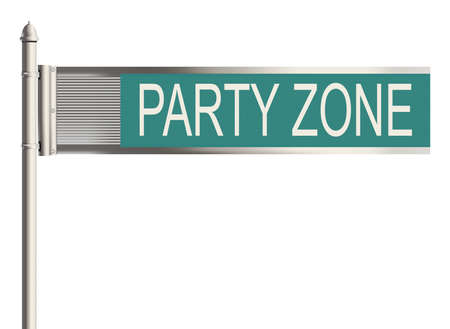 festive occasions: Party. Road sign on the white background. Raster illustration.