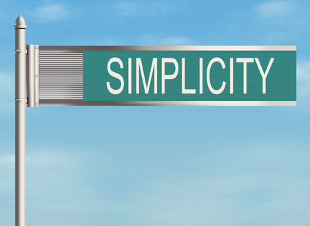 easiness: Simplicity. Road sign on the sky background. Raster illustration.
