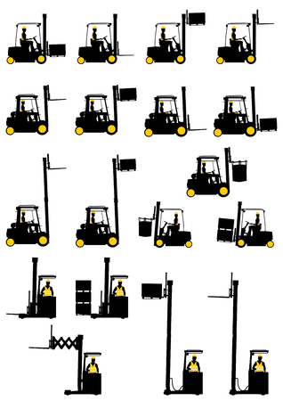 lift and carry: Silhouettes of forklifts on the white background