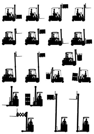 Siluetas de carretillas elevadoras en el fondo blanco Ilustración de vector