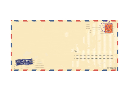 Airmail envelope. Vector base for further Top processing. Without gradients on one layer.