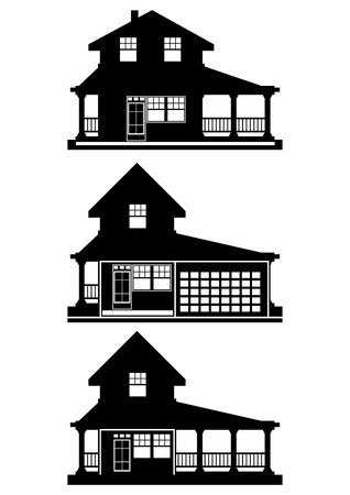 small houses: Silhouettes of modern small houses. Vector.