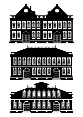 townhouses: Silhouettes of old townhouses on a white background. Flat vector