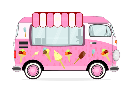 Funny Cartoon Pink Ice Cream Van On A White Background Flat Vector