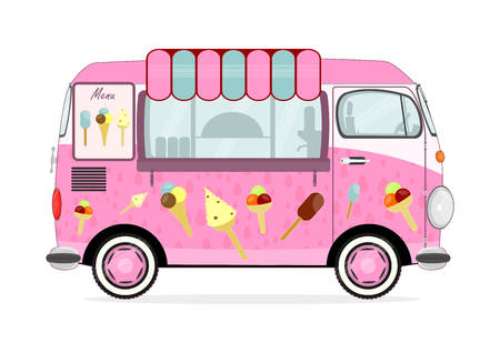 Funny cartoon pink ice cream van on a white background. Flat vector