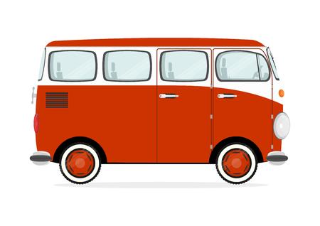 Funny cartoon retro van on a white background. Flat vector. Illustration