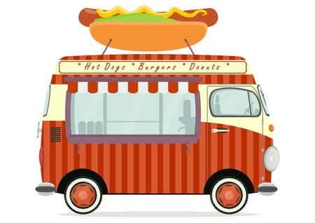 白い背景に面白い漫画屋台トラック。フラットのベクトル。  イラスト・ベクター素材