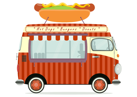 Funny cartoon street food truck on a white background. Flat vector.