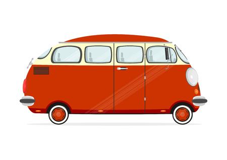 Funny Cartoon-Minivan auf einem weißen Hintergrund. Flach Vektor
