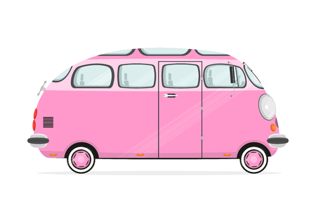 combi: Funny cartoon minivan on a white background. Flat vector