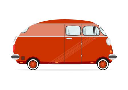minivan: Funny cartoon minivan on a white background. Flat vector