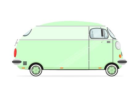 Funny Cartoon-Minivan auf einem weißen Hintergrund. Flach Vektor Vektorgrafik