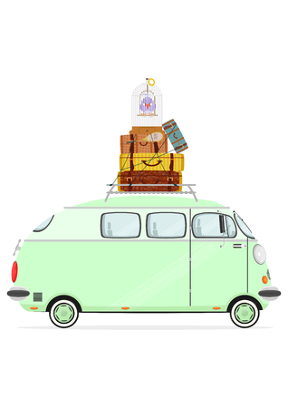 minivan: Holiday. Funny cartoon minivan with suitcases on a white background. Flat vector Illustration