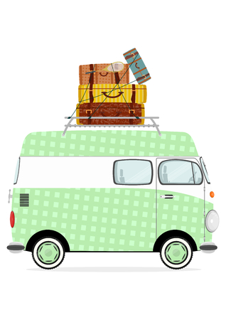 Holiday. Funny cartoon minivan with suitcases on a white background. Flat vector Illustration