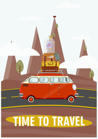 tsar: Time to travel. Illustration of an old car on a landscape background. Flat vector
