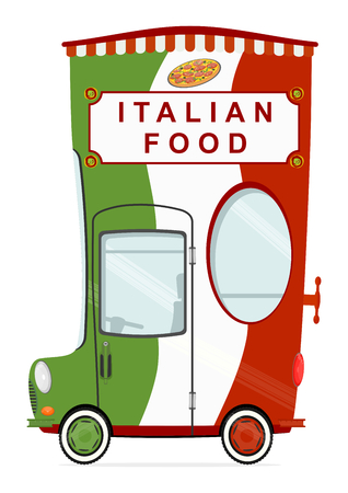 gastronomy: Funny cartoon pizza delivery car on a white background. Flat vector