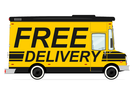 Free delivery. Side view of cartoon van. Flat vector.