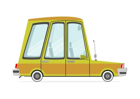 Funny Cartoon-Kombi auf einem weißen Hintergrund. Flach Vektor
