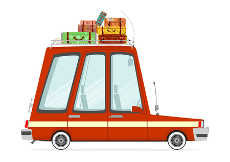combi: Funny cartoon station wagon on a white background. Flat vector