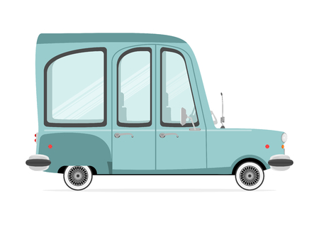 station wagon: Funny cartoon station wagon on a white background. Flat vector