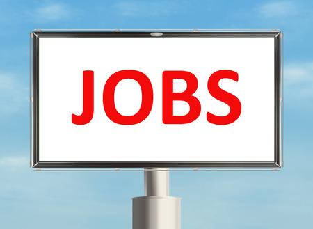 jobs: Jobs. Road sign on the sky background. Raster illustration.
