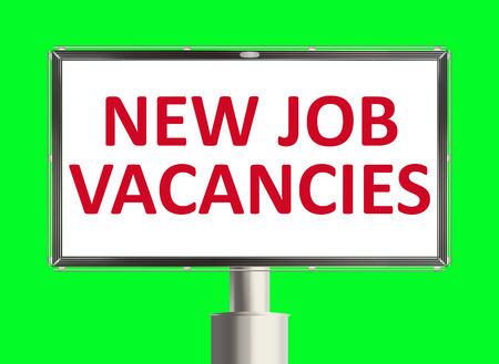 job vacancy: Job vacancy. Road sign on the green background. Raster illustration.
