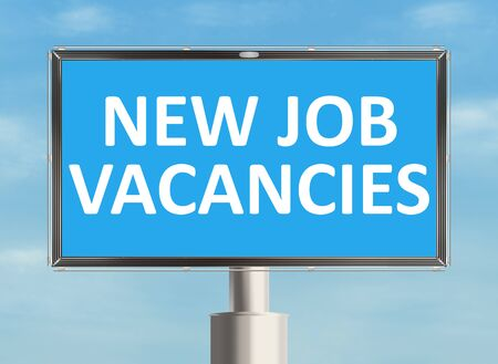 vacancy: Job vacancy. Road sign on the sky background. Raster illustration.