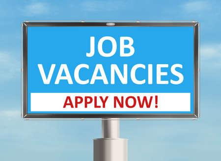 job vacancy: Job vacancy. Road sign on the sky background. Raster illustration.