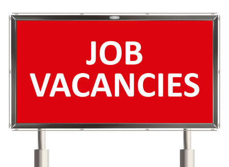 job vacancy: Job vacancy. Road sign on the white background. Raster illustration.