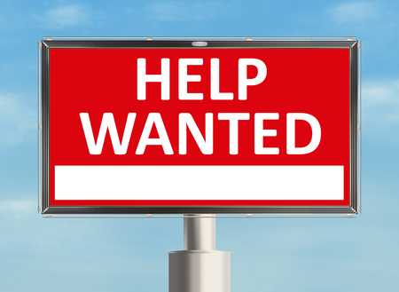 recruit help: Help wanted. Road sign on the sky background. Raster illustration.