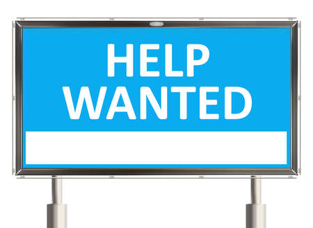 help wanted sign: Help wanted. Road sign on the white background. Raster illustration. Stock Photo