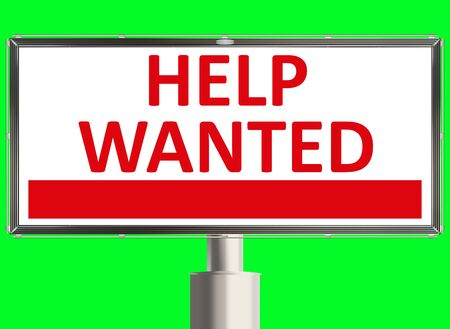 new recruit: Help wanted. Road sign on the green background. Raster illustration. Stock Photo