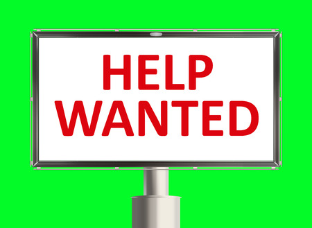 help wanted sign: Help wanted. Road sign on the green background. Raster illustration. Stock Photo
