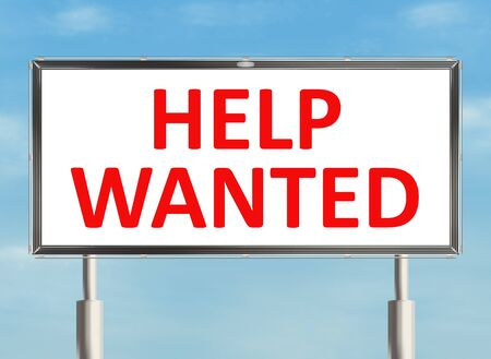 help wanted sign: Help wanted. Road sign on the sky background. Raster illustration.