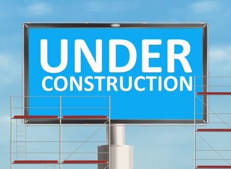 under construction road sign: Under construction. Road sign on the sky background. Raster illustration.
