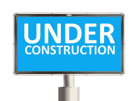 under construction road sign: Under construction. Road sign on the white background. Raster illustration. Stock Photo