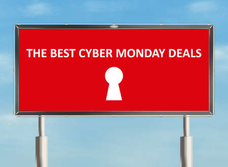 holiday profits: Cyber monday. Billboard on the sky background. Raster illustration.