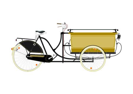 asian cartoon: Cartoon cargo bike or rickshaw on a white background.