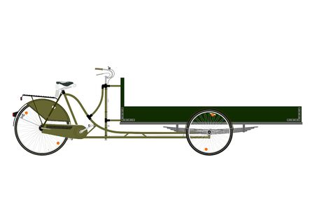 Cartoon carico bicicletta o risciò su uno sfondo bianco. Vettoriali