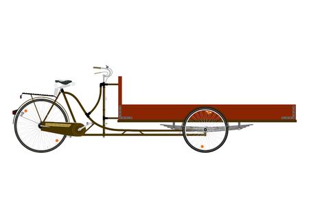 bicicleta de carga de dibujos animados o rickshaw sobre un fondo blanco.