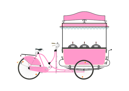 street vendor: Cartoon street food vendor bicycle on a white background