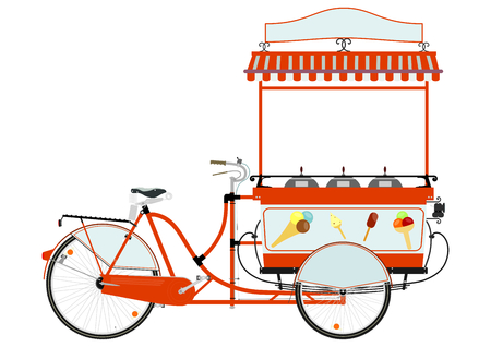 Cartoon street food vendor bicycle on a white background
