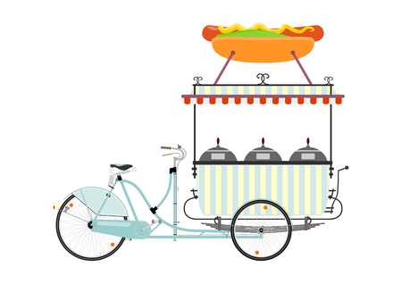 street vendor: Cartoon street food vendor bicycle on a white background