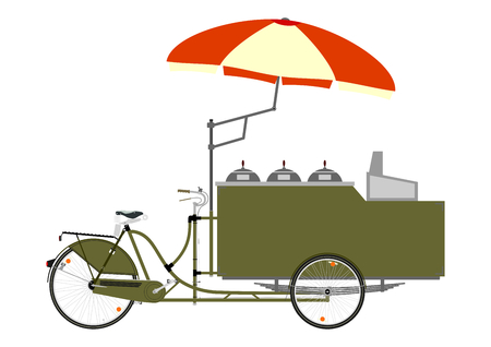 vendor: Cartoon street food vendor bicycle on a white background