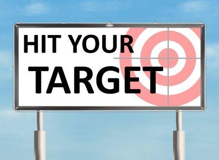 raster illustration: Target. Billboard the sky background. Raster illustration.