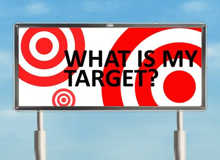 strategic focus: Target. Billboard the sky background. Raster illustration.