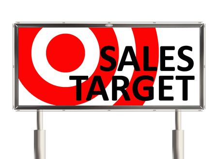 reach customers: Target. Billboard the white background. Raster illustration.